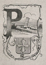 1871:PISA,MINIATURA STEMMA ARALDICO CITTA  Cento Citta, Ariodante Manfredi.ETNA