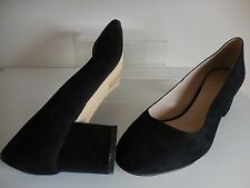 Black Faux Suede Block Heel Shoes Size UK 9 / EU 43 Standard Fit  BNWT~ Evans