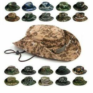 Tactical Boonie Bucket Sun Hat Camo Wide Brim Jungle Fishing Bush Caps Outdoor