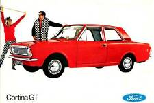 Old Print.  Red Ford Cortina GT (United Kingdom) - Auto