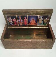 Ornate Brass Trinket Box Mandir Mohotsav Shilan Vidhi Hindu Baps Swami Spiritual