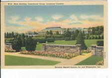 CG-278 DE, Longwood Gardens Main Building, Greenhouse Group Linen Postcard