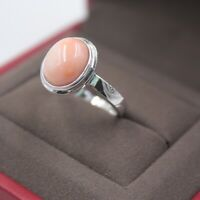 New 925 Sterling Silver with Natural Pink Coral Lady Ring Size: 5-10
