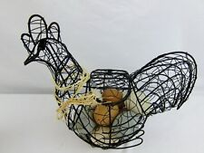 Rooster/Chicken Wire Basket Farmhouse Country Rustic Decor Egg Basket & Eggs