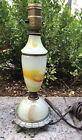 """Antique Pewter and Green Onyx Lamp 12.5"""" Tall Vinatge Paulding Hardware"""