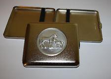 Zigaretten-Etui mit Zinn-Emblem Pferd mit Fohlen Metall Normalformat
