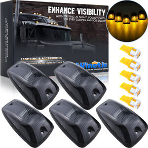 5 LED Cab Roof Running Marker Light Cover + Base + Amber LED For 88-02 Chevy GMC