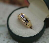 Vintage Jewellery Gold Ring Amethyst White Sapphires Antique Deco Jewelry P
