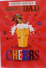 """Cute Dog In Pint Lager & Stars """"GREAT DAD"""" Birthday Card"""