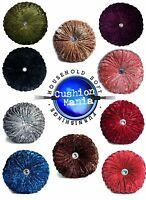 Cushion Crush Velvet Cushions Luxury Diamante Chic Filled Scatter Cushion Round