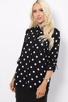 Black White Polka Dot 3/4 Sleeve Top Blouse Shirt Turn Up Sleeve Size 6 - 16