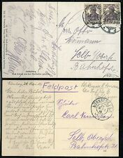 GERMANY LOT OF TWO POSTCARDS ONE IS WWI FELDPOST AS SHOWN