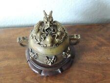 Vintage China Folk Favorites Brass Gilded Dragon Incense burner Statue