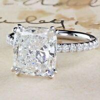 2.40Ct Cushion Cut Moissanite Engagement Ring  14k White Gold Finish