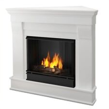 Real Flame Chateau Gel Corner Fireplace in White Finish