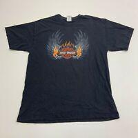 Harley Davidson T-Shirt Mens Large Brandt's Wabash Indiana Black Short Sleeve