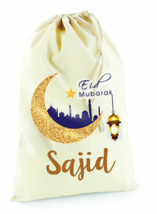 Personalised Eid Mubarak Cotton Canvas Drawstring Gift Bag Girl Boy Gift Present