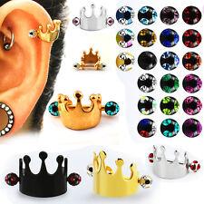 1-4PC 16G Steel Crown Shield Crystal Balls Ear Helix Cartilage Cuff Ring Earring