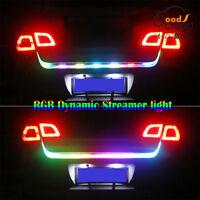 "47"" RGB LED Car Rear Trunk Strip Light Tailgate Brake Driving Signal Flow Lamps"