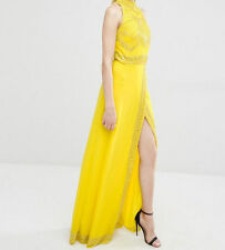Maya Petite High Neck Wrap Front Embellished Yellow Maxi Party Gown Dress 6 34