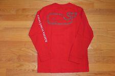 EUC Vineyard Vines Boy Red Whale Shirt Top Christmas Holiday S 8-10