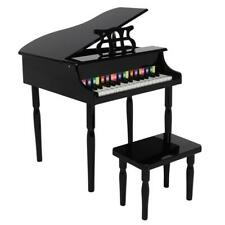 More details for new 30 key kids wooden mini grand piano w/ stool musical toy black xmas gift