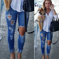 Women's Ripped Jeans Destroyed Skinny High Waist Denim Pants Trousers Jeggings