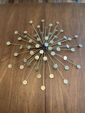 Vintage Sunburst Wall Decor Brass Gold Metal : Mid Century Modern