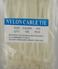 "8"" White Nylon Cable Tie Zip Heavy Duty Plastic Wire - Pack of 100pcs"