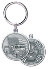 Fire Fighter Key Chain by Blackinton, in Pewter