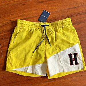 Tommy Hilfiger Mens Medium Swim Trunks Shorts Empire Yellow Drawstrings Logo NEW