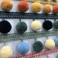 1M Pom Pom Ball Trim Braid Fringe Curtain Ribbon Sewing Tassel Balls Craft DIY
