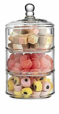 Elegant Home 3 Tier Clear Glass Candy Dishes Cookie Apothecary Jars Holders Jar