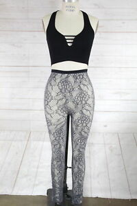 New Free People Floral Lace Fishnet Hi-Rise Stockings Tights Womens Gray M/L