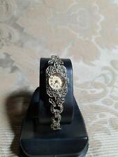 Vintage Melva  Marcasite Watch Sterling Silver. Art Deco