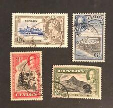 Ceylon postage stamps lot of 4 old King George V          Ja