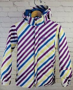 Girls Large (10/12) Snowboard Down Jacket Burton Striped ALLR Puffy hooded