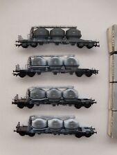 Lot de 4 wagons pulvérulents de type Uacs des OBB Klein Modellbahn 3473
