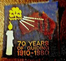 """Girl Guides Australia, """"70 years of Guiding 1910 -1980"""", Ribbon Cloth badge"""