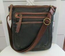 THE SAK Pebble Soft Leather Black Crossbody Shoulder Bag Brown Trim Zip Closure