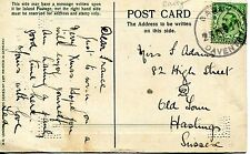 Postcard -Happy Christmas - with BARBY/DAVENTRY rubber cancel 1911