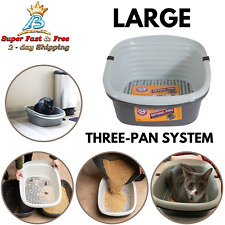 Large Cat Sifting Litter Pan Slotted Tray 3 Part System Container Tray No Shake