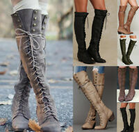 Motorcycle Women Over Knee High Boots Lace-Up Block Heel Long Cowboy Boot Shoes