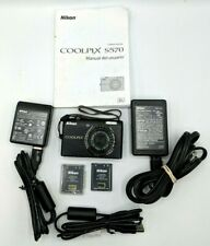 Nikon COOLPIX S570 12.0MP Digital Camera Black w/charger battery Manual *Issues*