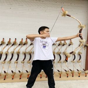 Traditional Recurve Bow Hunting Longbow Mongolian Bow Archer Shooting 25-50lbs