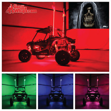 LED Lighted 6' Whip with WIRELESS Remote- ATV UTV RZR w/Robe Skull Flag
