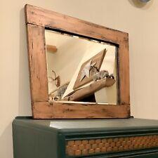Vintage Distressed Wooden Copper & Black Display Mirror - Patina/Interior