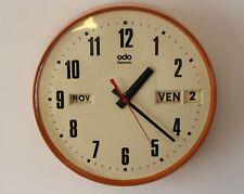 ANCIENNE HORLOGE MURALE ODO ELECTRONIC triple date 70'S vintage clock pendule