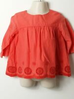 GIRLS MARKS & SPENCER CORAL LINED LONG SLEEVE TOP BLOUSE SHIRT AGE 18-24 MONTHS