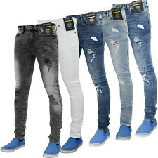 Enzo Men Ripped Skinny Jeans Stretch Denim Biker Pants Slim Fit Trouser All Size